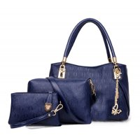Women's Blue Worsley Same Paragraph Three Piece Shoulder Bag, Handbag & Picture Handbag CLB-34