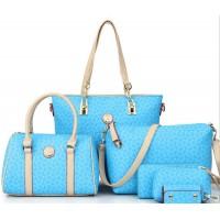 Women's Fashion Five Piece Sky Blue Color Shoulder Bag, Handbag, Cross Body, Wallet & Key Cover Set CLB-45LB
