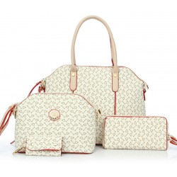Women's Korean Style Cream Color Four Piece Shoulder Bag, Handbag, Hand Wallet & Key Cover Set CLB-67CR