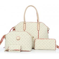 Women's Korean Style Cream Color Four Piece Shoulder Bag, Handbag, Hand Wallet & Key Cover Set CLB-67CR