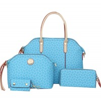 Women's Korean Style Sky Blue Color Four Piece Shoulder Bag, Handbag, Hand Wallet & Key Cover Set CLB-69