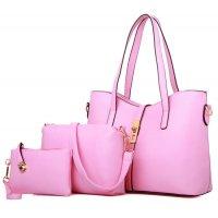 Women's New High End Pink Color Three Piece Shoulder Bag, Hand Bag & Clutch Set CLB-81