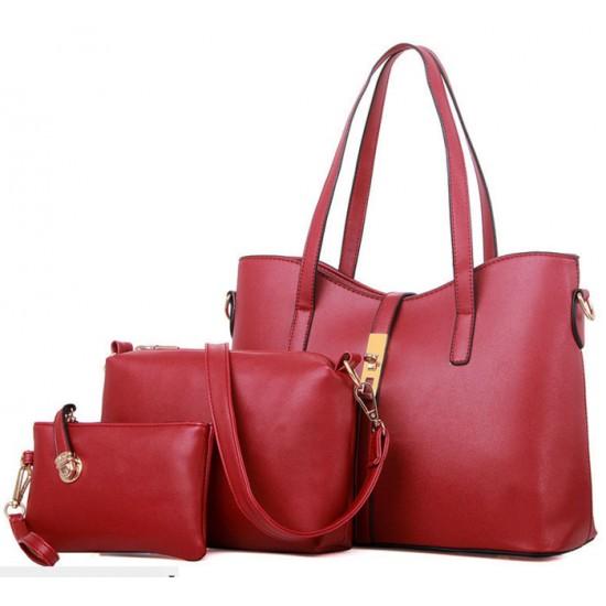 Women's New High End Red Color Three Piece Shoulder Bag, Hand Bag & Clutch Set CLB-80RD