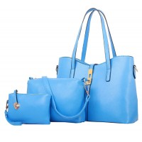 Women's New High End Blue Color Three Piece Shoulder Bag, Hand Bag & Clutch Set CLB-82