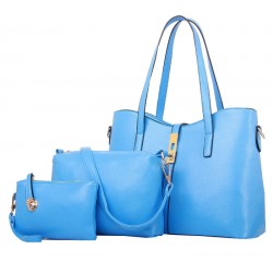 Women's New High End Blue Color Three Piece Shoulder Bag, Hand Bag & Clutch Set CLB-80BL