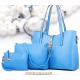 Women's New High End Blue Color Three Piece Shoulder Bag, Hand Bag & Clutch Set CLB-80BL image
