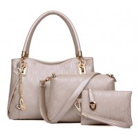 Women's Cream Worsley Same Paragraph Three Piece Shoulder Bag, Handbag & Picture Handbag CLB-33C