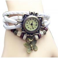 Stylish White Ladies Leather Vintage Watch W-17
