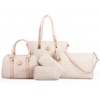 Women's Fashion Five Piece Cream Color Shoulder Bag, Handbag, Cross Body, Wallet & Key Cover Set CLB-45C