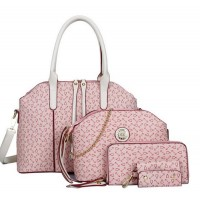 Women's Korean Style Pink Color Four Piece Shoulder Bag, Handbag, Hand Wallet & Key Cover Set CLB-67PK