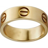 Women's Love Design Cartier Style Gold Color Titanium Steel Ring CCR-02