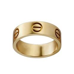 Women's Love Design Cartier Style Gold Color Titanium Steel Ring CCR-02