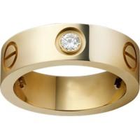 Women's Love Design Diamond Cartier Style Gold Color Titanium Steel Ring CCR-06