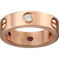 Women's Love Design Diamond Cartier Style Gold Color Titanium Steel Ring CCR-07