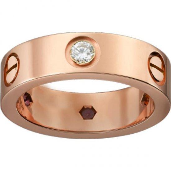 Women's Love Design Diamond Cartier Style Gold Color Titanium Steel Ring CCR-07 image