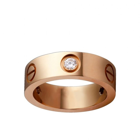 Women's Love Design Diamond Cartier Style Gold Color Titanium Steel Ring CCR-07 image