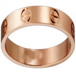 Women's Love Design Cartier Style Rose Gold Color Titanium Steel Ring CCR-03