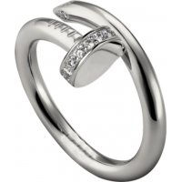 Women's Diamond Nail Style Silver Color Titanium Steel Ring CCR-27