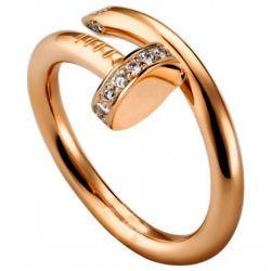 Women's Diamond Nail Style Rose Gold Color Titanium Steel Ring CCR-26
