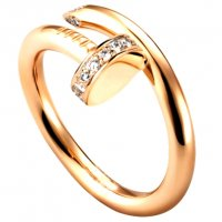 Women's Diamond Nail Style Gold Color Titanium Steel Ring CCR-25