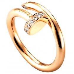Women's Diamond Nail Style Gold Color Titanium Steel Ring CCR-25
