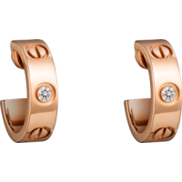 Women's Love Design Diamond Cartier Style Rose Gold Color Titanium Steel Earring CCE-07