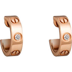 Women's Love Design Diamond Cartier Style Rose Gold Color Titanium Steel Earring CCE-07