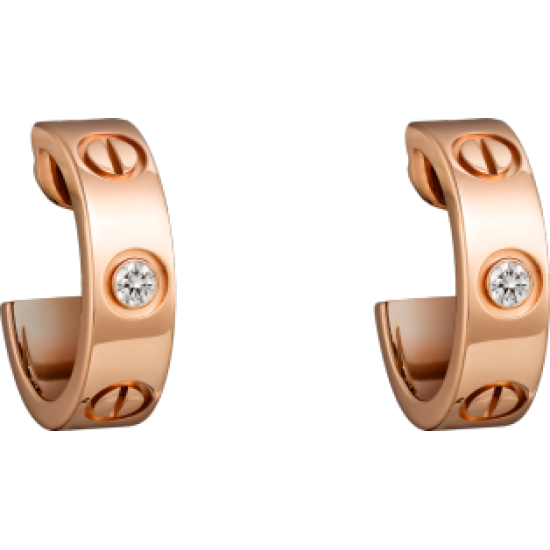 Women's Love Design Diamond Cartier Style Rose Gold Color Titanium Steel Earring CCE-07 image