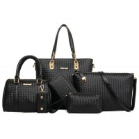 Women Fashion Six Piece Black Color Shoulder Bags, Handbag, Cross Body, Messenger, Clutch & Key Cover Set CLB-102BK