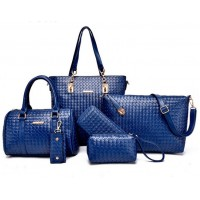 Women Fashion Six Piece Blue Color Shoulder Bags, Handbag, Cross Body, Messenger, Clutch & Key Cover Set CLB-102BL