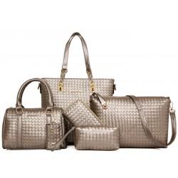 Women Fashion Six Piece Gold Color Shoulder Bags, Handbag, Cross Body, Messenger, Clutch & Key Cover Set CLB-102GD