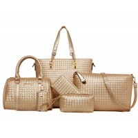 Women Fashion Six Piece Cream Color Shoulder Bags, Handbag, Cross Body, Messenger, Clutch & Key Cover Set CLB-102CR