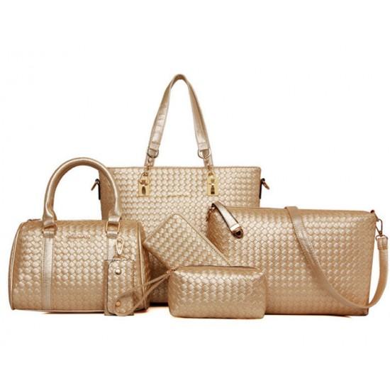 Women Fashion Six Piece Cream Color Shoulder Bags, Handbag, Cross Body, Messenger, Clutch & Key Cover Set CLB-102CR