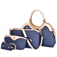 Women's Fashion Four Piece Blue Color Denim Portable Shoulder, HandBag, Messenger & Key Cover Set CLB-120