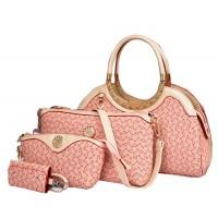 Women's Fashion Four Piece Pink Color Denim Portable Shoulder, HandBag, Messenger & Key Cover Se CLB-123