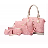 Women's Fashion Bone Pattern Four Piece Pink Color Shoulder Bag, Hand Bag, Cross Body and Key Cover Set CLB-124