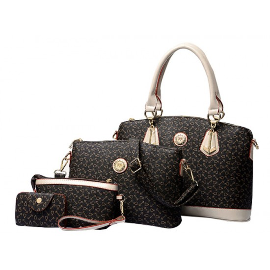 Women's Fashion Bone Patern Four Piece Brown Color Shoulder Bag, Hand Bag, Cross Body and Key Cover Set CLB-126 image
