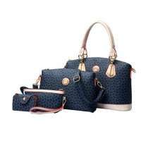 Women's Fashion Bone Pattern Four Piece Dark Blue Color Shoulder Bag, Hand Bag, Cross Body and Key Cover Set CLB-125