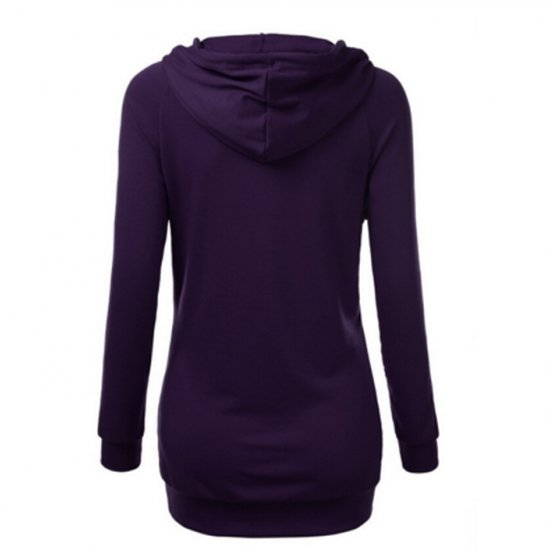 Women's Fashion Purple Color Cotton Casual Long Sweater WH-05PR
