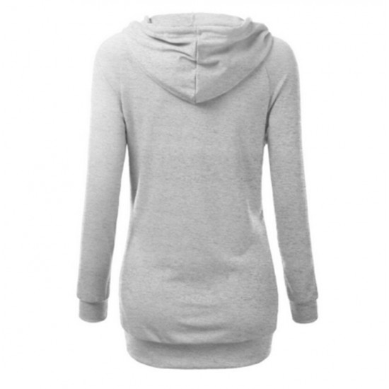 Women's Fashion Grey Color Cotton Casual Long Sweater WH-05GR image