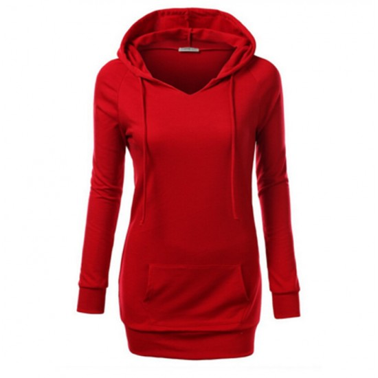 Women's Fashion Red Color Cotton Casual Long Sweater WH-05R