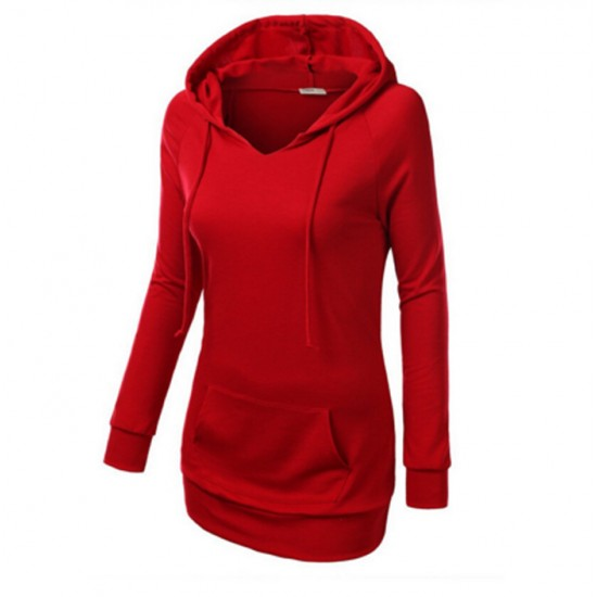 Women's Fashion Red Color Cotton Casual Long Sweater WH-05R image