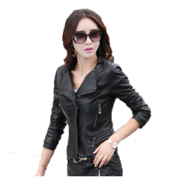 Women Fashion Black Color Leather Casual Jacket WJ-24BK