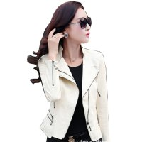 Women's Fashion White Color Leather Casual Jacket WJ-24W