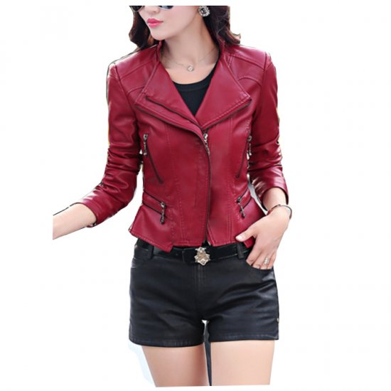 Women's Fashion Red Color Leather Casual Jacket WJ-24R