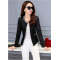 Women's European Fashion Slim Full Sleeves Black Leather Jacket WJ-01Bk