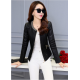 Women's European Fashion Slim Full Sleeves Black Leather Jacket WJ-01Bk