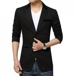 Men's Fashion Black Color Cotton Casual Coat CJDG-30BL