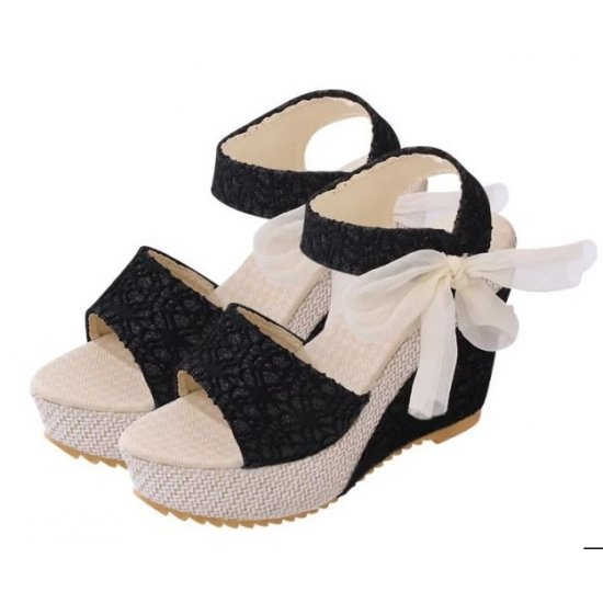 Latest Rope Designed Black Color high Wedge Sandals CHWS-01B