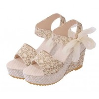 Latest Rope Designed Gold Color high Wedge Sandals CHWS-01G